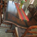 Italian Wood &amp; Wrought Iron Dining Table w/8Chairs-$2000