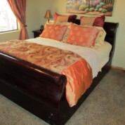 SOLD!!! Black Sea Gallery Queen Size Sleigh Bed w/Bedding