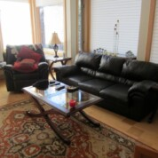 SOLD! Black Leather Couch and Loveseat