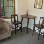 SOLD! Vintage Wood Drop Leaf Table with Two Chairs